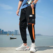 Streetwear Casual Pants Men Black Joggers Pants Side-pockets Polyester  Man Trousers