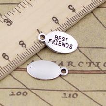 15pcs/lot Charms Plates Best Friends 19x10mm Tibetan Pendants Antique Jewelry Making DIY Handmade Craft For Bracelet
