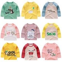 Хлопковая Милая футболка с длинными рукавами и принтом «Ronud» для маленьких мальчиков и девочек модная детская одежда