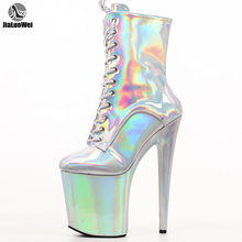 Пикантная обувь для стриптиза на платформе и высоком каблуке 8 дюймов; Ботильоны на шнуровке волшебного цвета