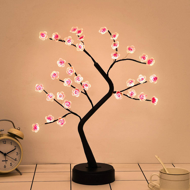 LED Tabletop Bonsai Tree Light Touch Switch DIY Artificial Light Tree Lamp Decoration Festival Holiday Battery/USB Operated D30 5