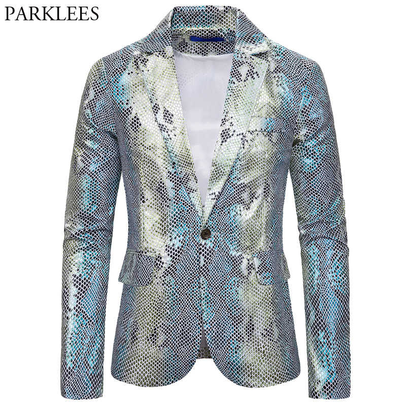 Silver Shiny Men Blazer Fish-Scale Pattern Mens Blazer Jacket Prom Dresses 2019 Men Stage Costume Men Suit Jacket Blazers Hombre
