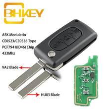 BHKEY для ключ Citroen 3 кнопки флип умный брелок для ключей для автомобиля для Citroen C2 C3 C4 C5 C6 C8 до 2011 Автомобиля Кнопки Дистанционного управления