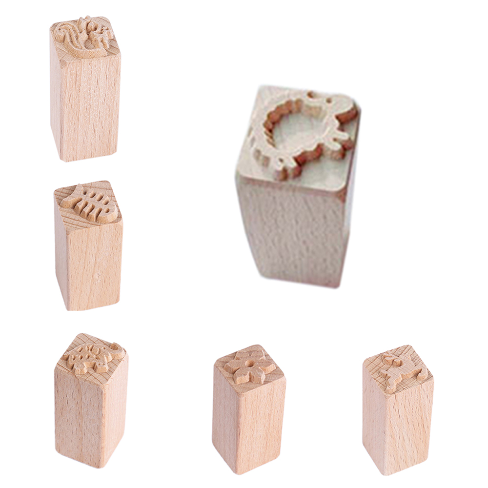 Children's Creative DIY Toys Hand Carved Wooden Stamps For Printing DIY Clay Pottery Printing Blocks Clay Tools Leaf Deer