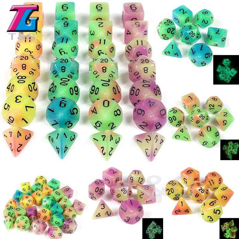 New Arrival! 7 Pc/set  Glowing In The Dark Dice D4 D6 D8 D10 D10% D12 D20 For D&D Rpg ,Board Game
