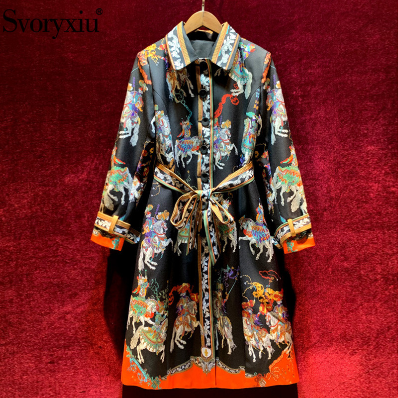 Svoryxiu Designer Autumn Winter Long Trench Coat Women's Long Sleeve Single-Breasted Vintage Print Fashion Overcoat Outwear