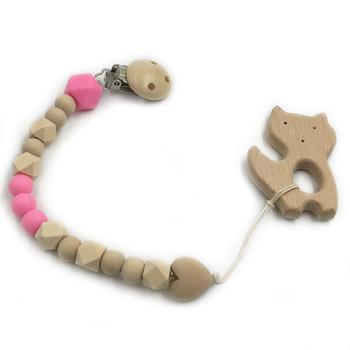 Wooden pink kitten toy