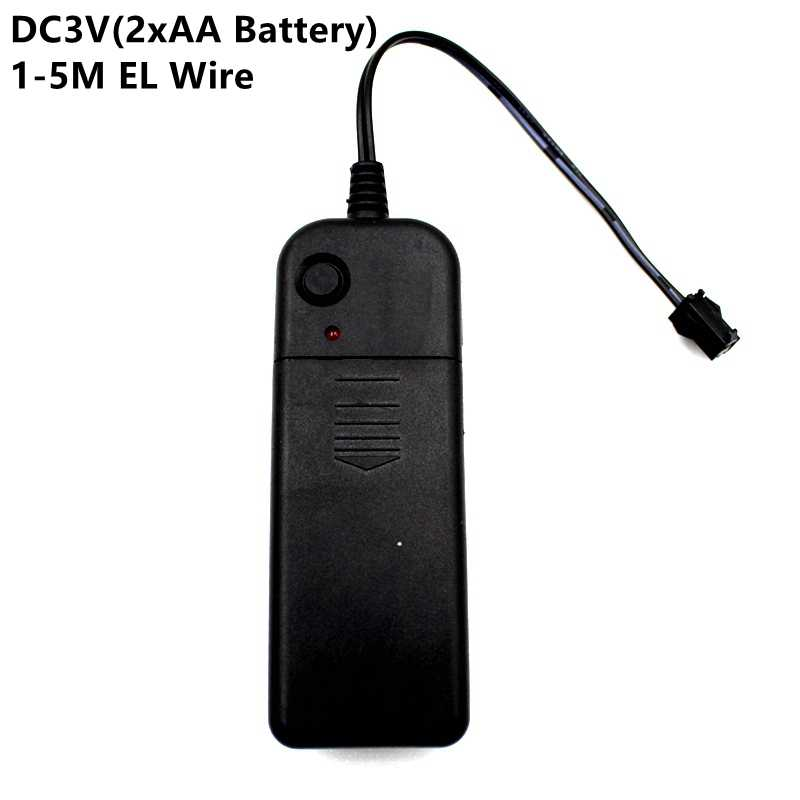 DC3V 2 * AA Battery Power Supply Adapter Driver del Controller Inverter Per 1-5M El Filo di Luce Elettroluminescente, DC A AC