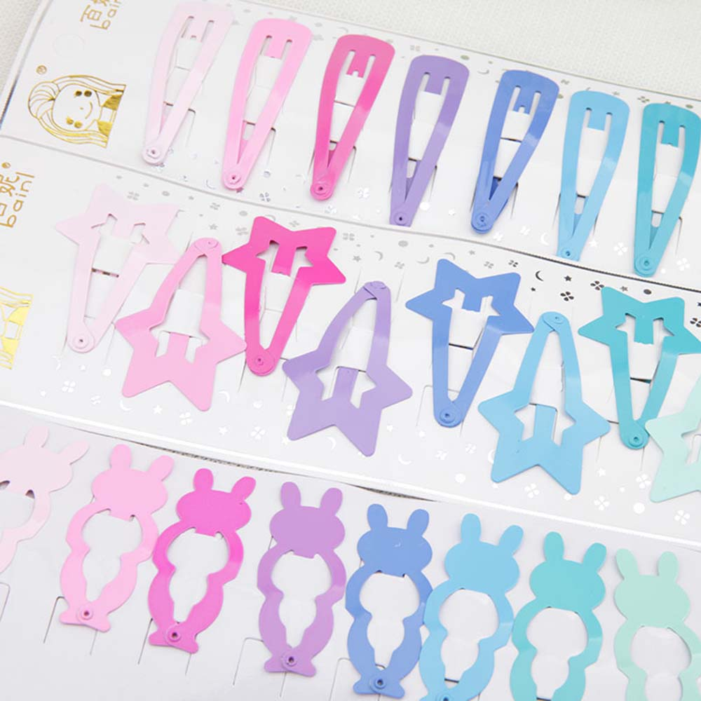 10 Pcs/Set Cute Printing Candy Color Cartoon Girl Hairpin BB Snap Hair Clips Hair Care Styling Tools Beauty Tools New Arrival