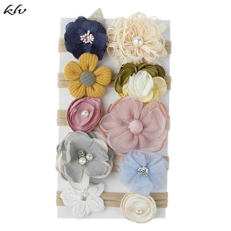 klv-10pcs-fashion-flower-baby-headband-super-soft-nylon-infant-baby-hair-band-baby-girl-hair-accessories-photography-props