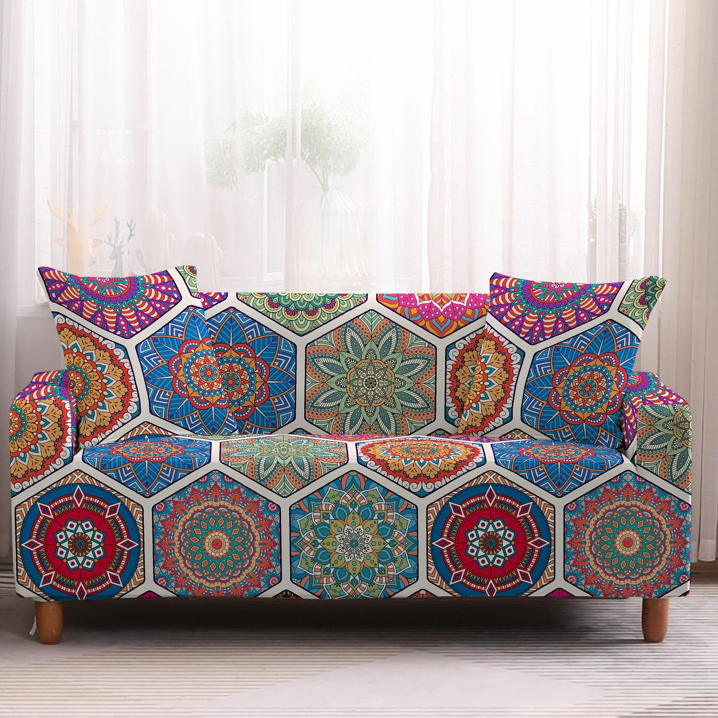 Bohemia Slipcovers Sofa Cover in Mandala Pattern to Protect Living Room Furniture from Stains and Dust 7