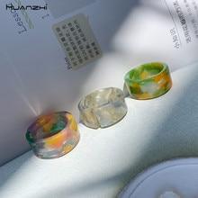 Huanzhi 2020 nova coréia simples acetato transparente colorido acrílico grosso aberto em forma de c círculo redondo anéis ajustáveis para mulher