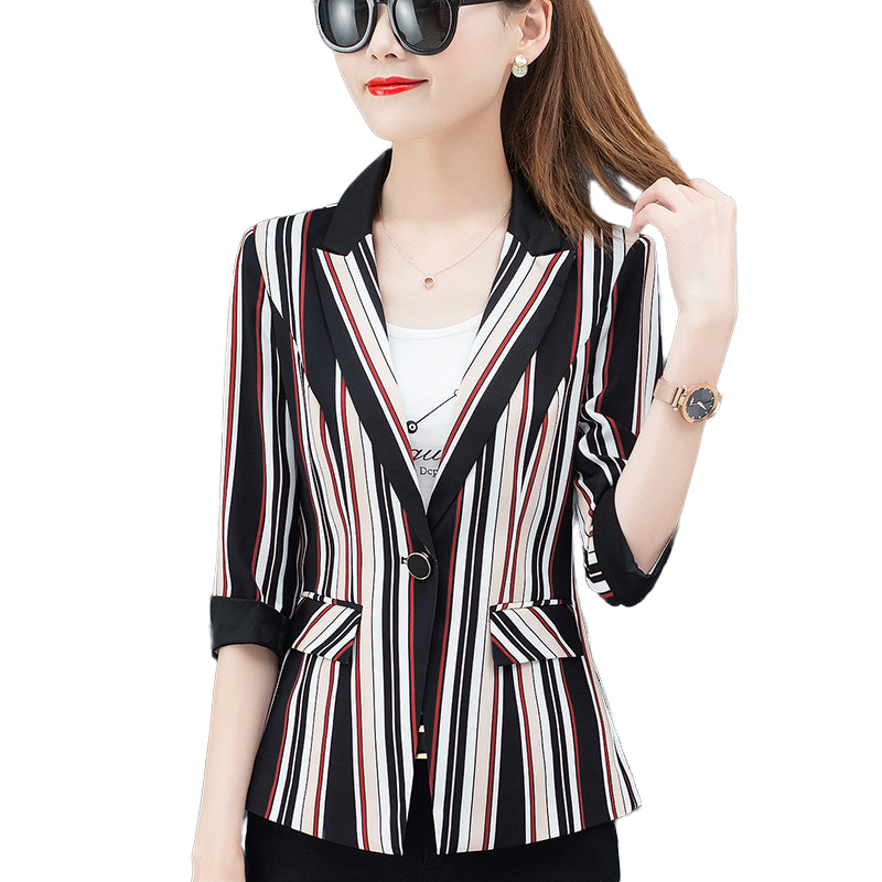 Vintage Stripe Print Women Blazer Elegant Office Blazer Half Sleeve Ladies Work Small Suit 2019 Korean Plus Size Blazers Jackets