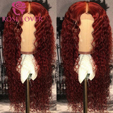 Curly Wigs Human-Hair-Wigs Lace-Frontal 99j-Colored Burgundy-Color Ombre 13x6 Black-Women