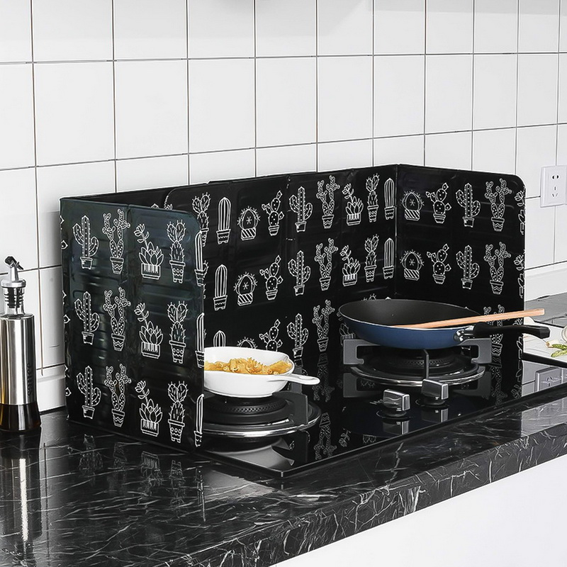 Cactus Printed Aluminum Foil Oil Block Oil Barrier Stove Cook Anti-Splashing Oil Baffle Heat Utensils Kitchen Insulation