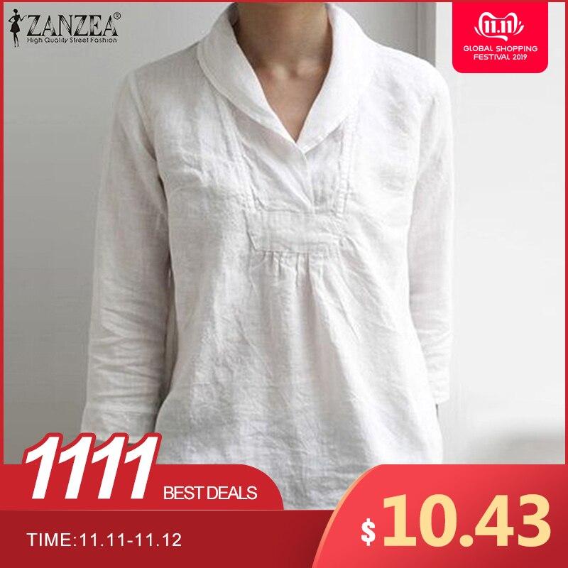 ZANZEA Elegant Women Lapel Neck Cotton Linen Shirt Summer 3/4 Sleeve Tunic Tops Casual Ladies V Neck Blusas Plus Size Blouse 5XL