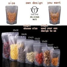 1PCS Transparent packaging bag zipper bag, bean plastic bags Custom LOGO printing
