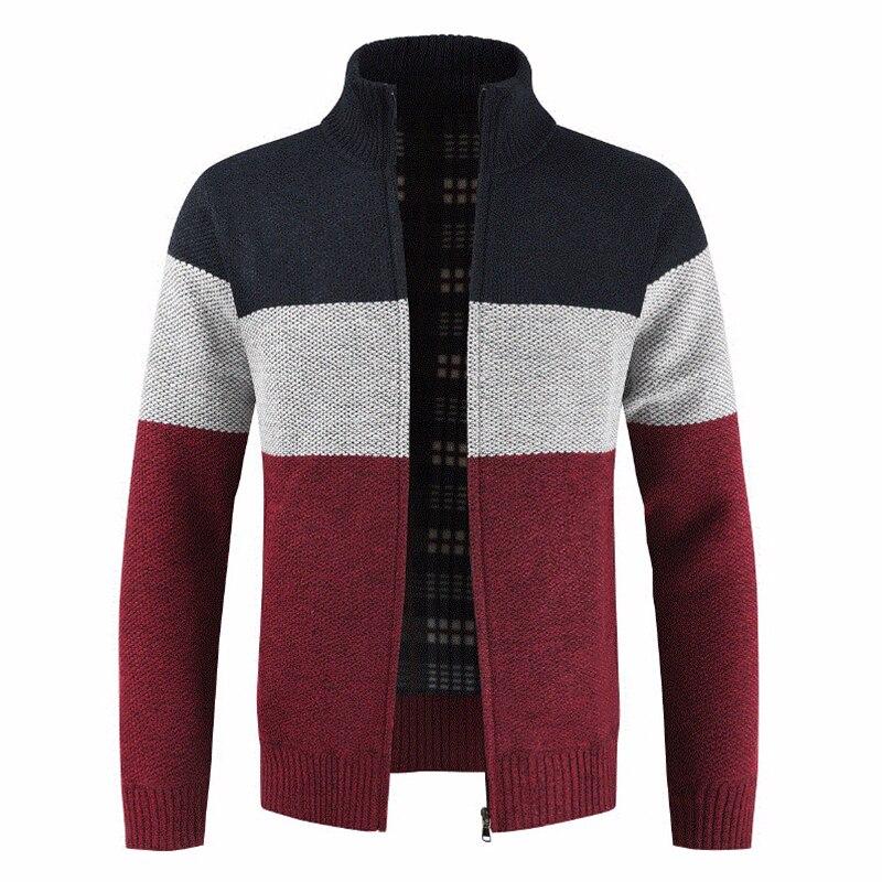 Oufisun 2019 Autumn Men New Casual Wool Cardigan Sweater Jumper Men Winter Fashion Striped Pockets Knit Outwear Coat Sweater Men