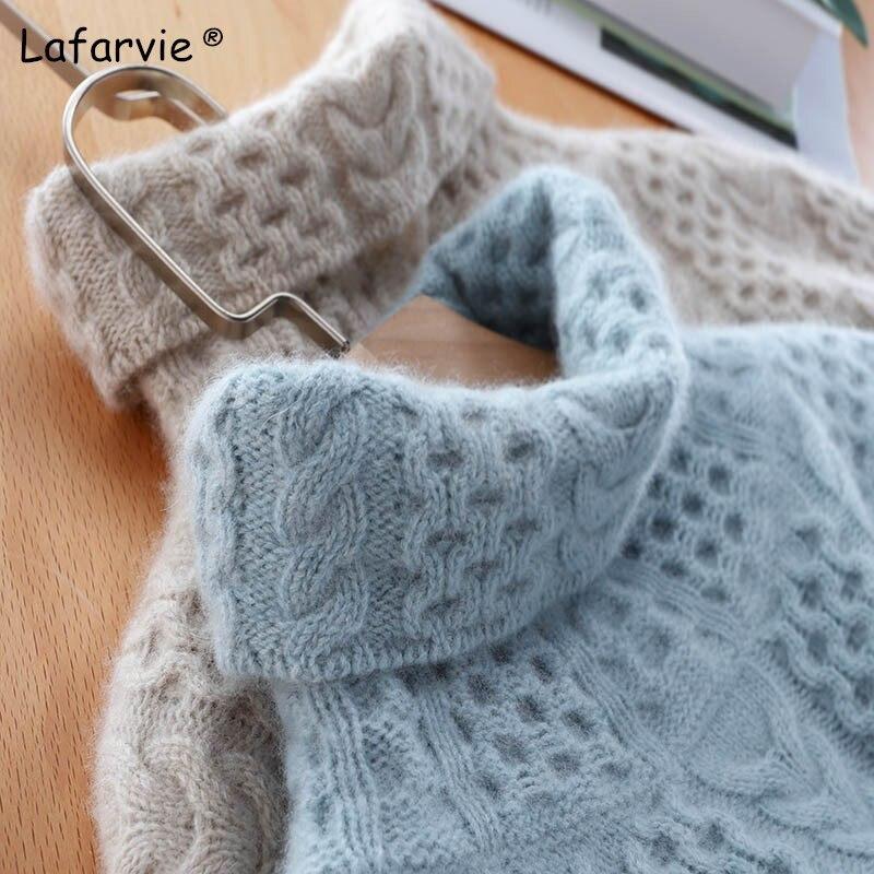 Lafarvie épais col roulé tricoté pull en laine haut pour femme automne hiver à manches longues chaud pull femme tricot pull S-XXL