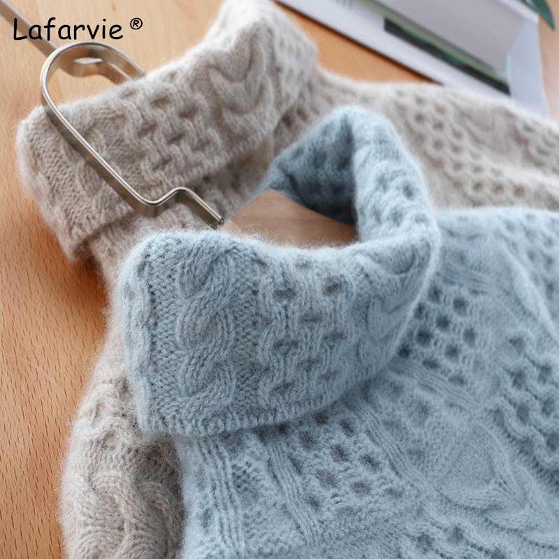 Lafarvie Thick Turtleneck Knitted Wool Sweater Women Tops Autumn Winter Full Sleeve Warm Pullover Female Knitting Jumper S-XXL
