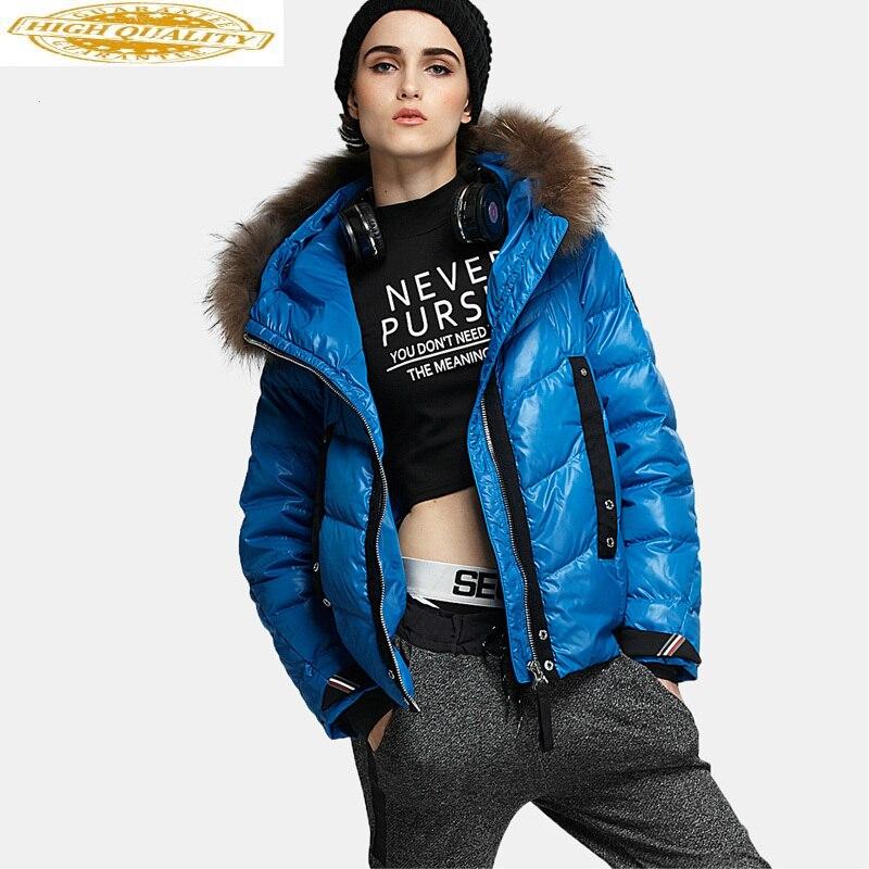 Short Down Jacket Woman Hooded Autumn And Winter Racoon Dog Fur Collar Down Coats Women Parkas Chamarras De Mujer KJ535