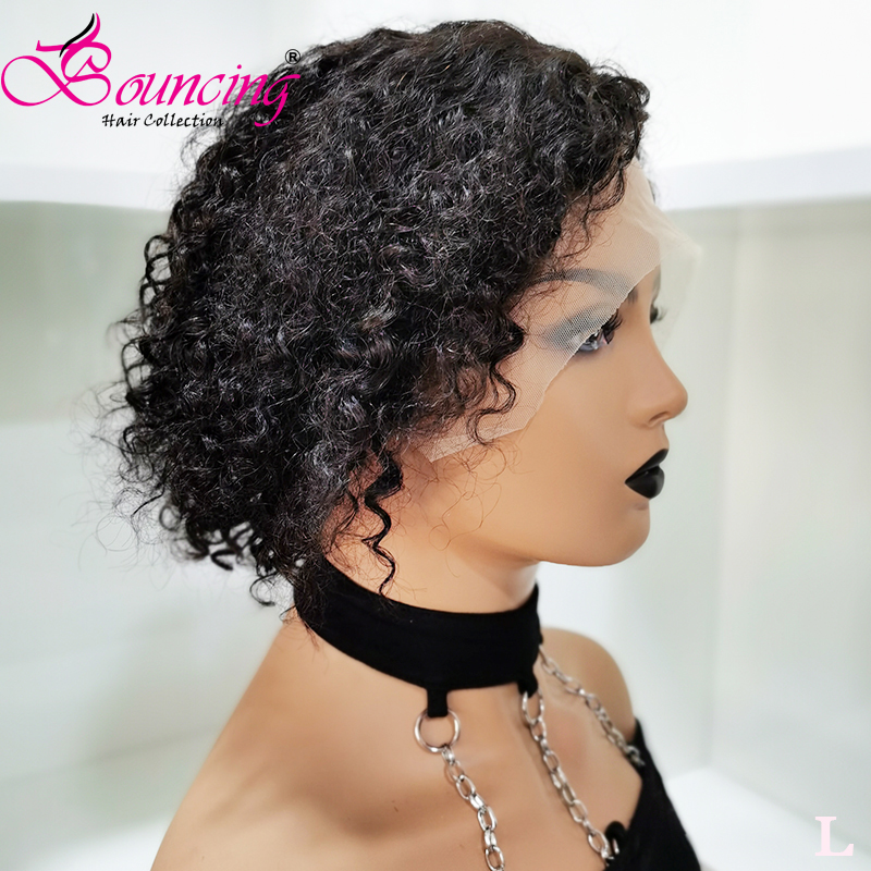 Bouncing Hair Curly Short Pixie Cut Wigs 13*4 &13*6 Lace Front Wigs 150% Density Natural Color Low Ratio Brazilian Remy Hair