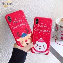 KISSCASE عيد الميلاد لينة بولي TPU حقيبة لهاتف أي فون 11PRO غطاء لطيف حقيبة لهاتف أي فون 7 8 X XS 11 11PRO ماكس XS ماكس XR 7PLUS 6PLUS Fundas