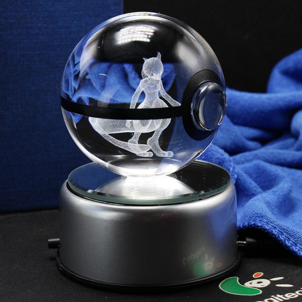 Nice Fashion Mewtwo Pokemon 3D Engraving Crystal Ball With LED Base Christmas Gifts