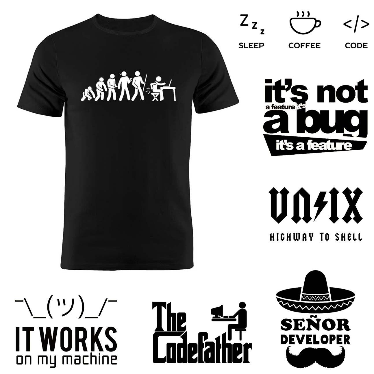 Для мужчин забавно кодер Футболка 100% хлопок Эволюция программист футболки компьютерной науки инженер Geek XS-3XL