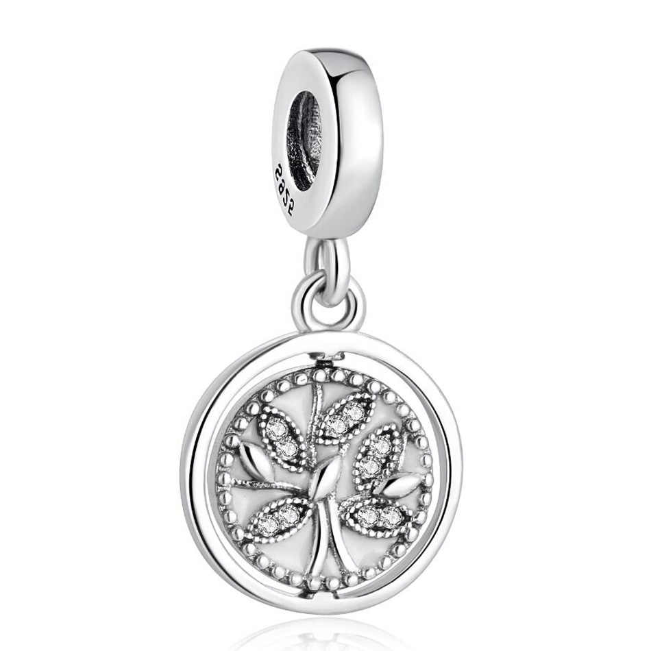 Authentic S925 Silver Pendant Bead Tree of Life Family Dangle Charm fit Pandora Bracelets