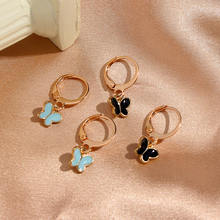 JUST FEEL 2Pair/Set Sweet Butterfly Drop Earring Blue Black Color Metal Wings Dangle Earring Sets Trendy New Korean Jewelry Gift(China)