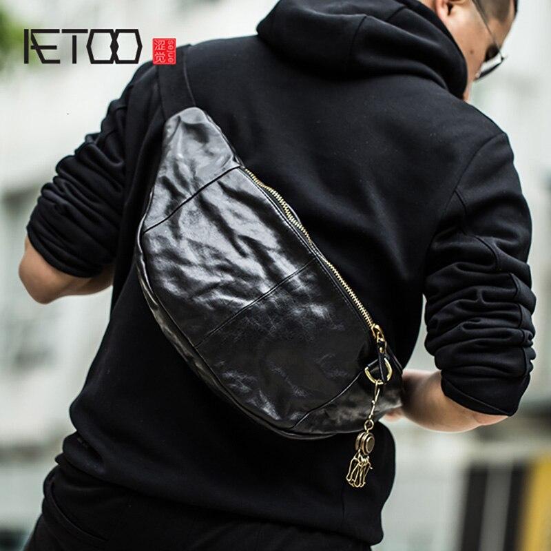 AETOO męska torba w klatce piersiowej, trend jedno ramię przekątnej krzyż torba, w stylu vintage skórzana torba w klatce piersiowej, skórzana dla mężczyzn kiesy w Saszetki od Bagaże i torby na  Grupa 1