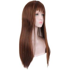 XUANGUANG длинные прямые волосы с челкой, парики для женщин, термостойкие синтетические парики, косплей или вечерние, коричневые
