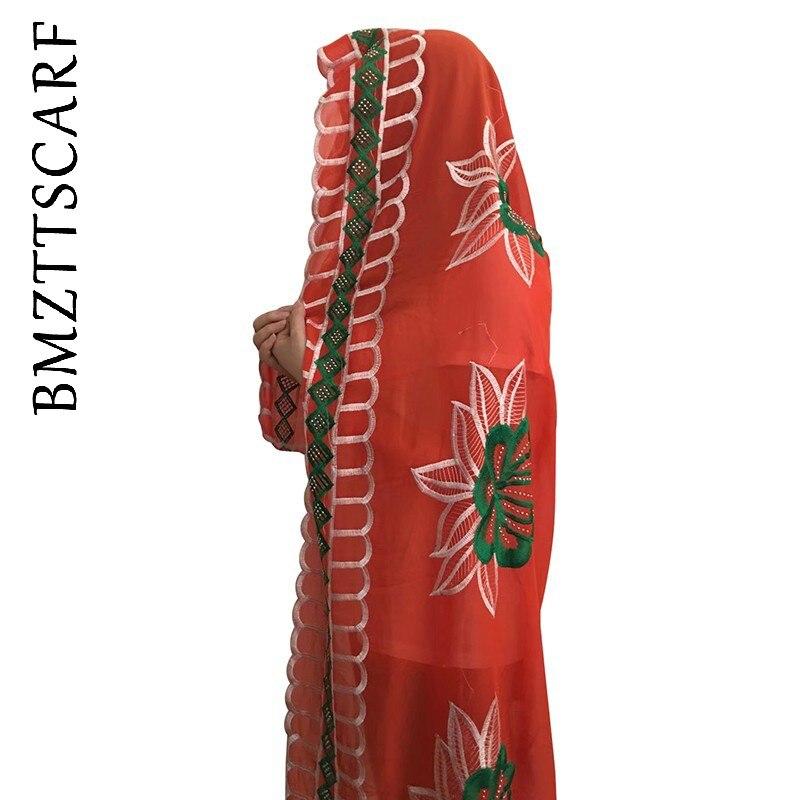 New African Women Embroidery Scarfs High Quality Big Size Chiffon Scarfs on Sales BM921