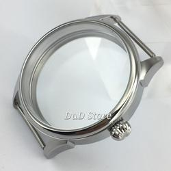 42mm Onion head silvery Stainless Steel see-through Watch Case Fit ETA 6497/6498 Seagull ST36 Movement Wristwatch Shell