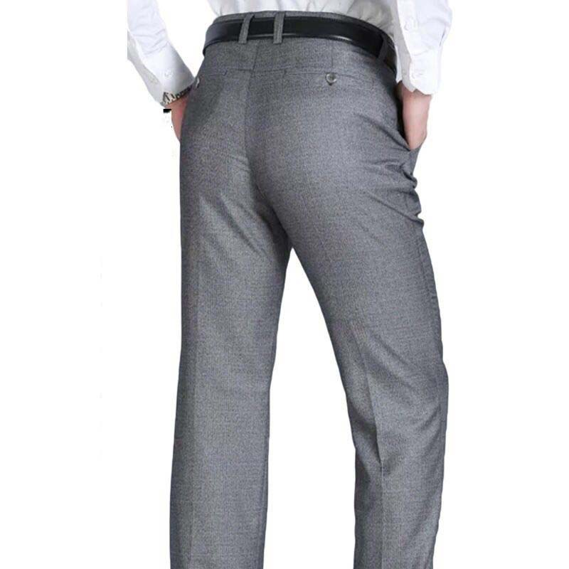 2019 New Casual Dress Suit Pants For Men Fit Slim Male Business Dress Pants Black Elastic Straight Waist Skinny Casual Trousers