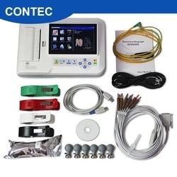 Сенсорный экран 6-ти канальный электрокардиограф 12 ЭКГ/ЭКГ машина + программное обеспечения для подключения к компьютеру + принтер, ECG600G