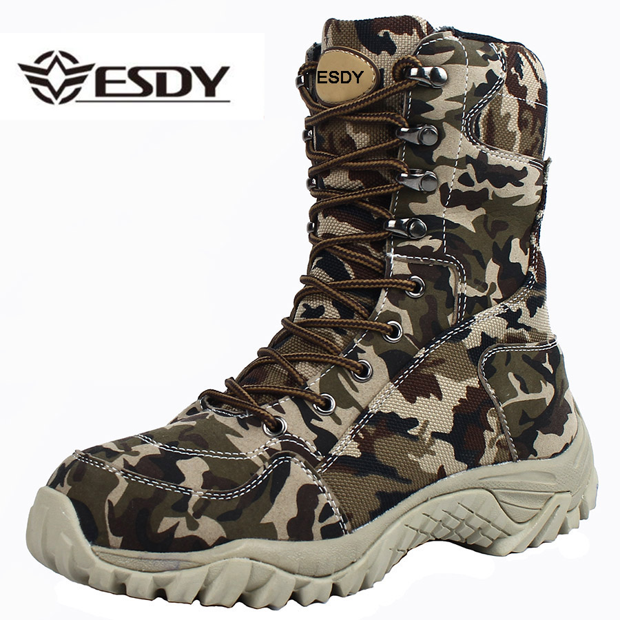 2019 Men Military Tactical Boots Winter Breathable Leather Camouflage Lace Up Boots High Combat Ankle Boots Men's Work Shoes