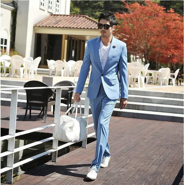 Light-Bule-Man-Suits-Notch-Lapel-One-Button-2-Pieces-Fashion-Terno-Masculino-Personal-Custome-Made (2)