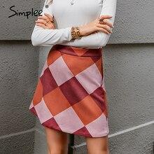 Mini Skirts Simplee Geometric Autumn Winter High-Waist Fashion Casual Straight Above-Knee
