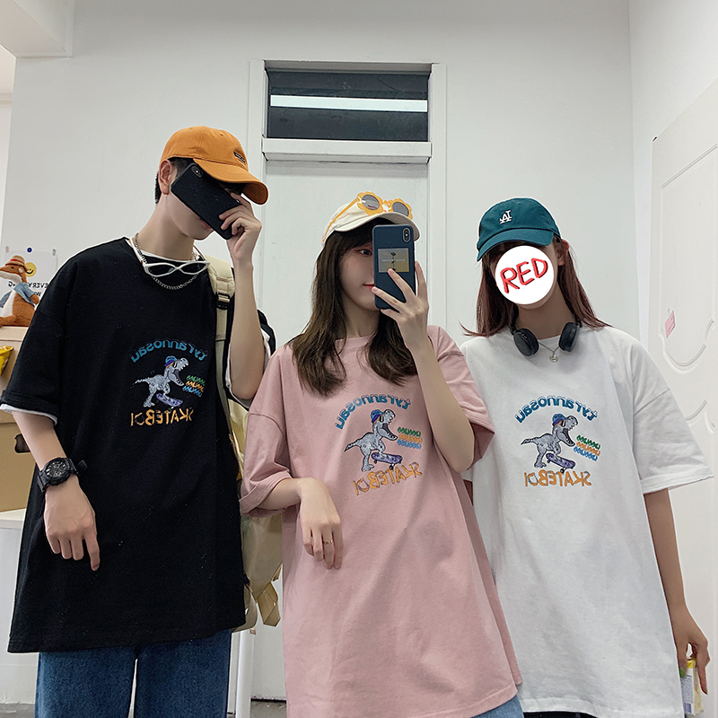 <font><b>Mens</b></font> Dinosaur Printed T <font><b>Shirts</b></font> Summer Couple Clothes <font><b>Oversized</b></font> Top Tee <font><b>Shirt</b></font> Homme <font><b>Korean</b></font> <font><b>Style</b></font> Original Graphic T Shrit for <font><b>Men</b></font> image