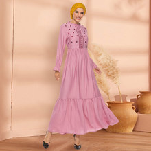 Siskakia Long Sleeve Dresses Elegant Pink laces Stand Collar Arabian Long Dress Fashion diamond Embroidery Muslim Wears Swing(China)