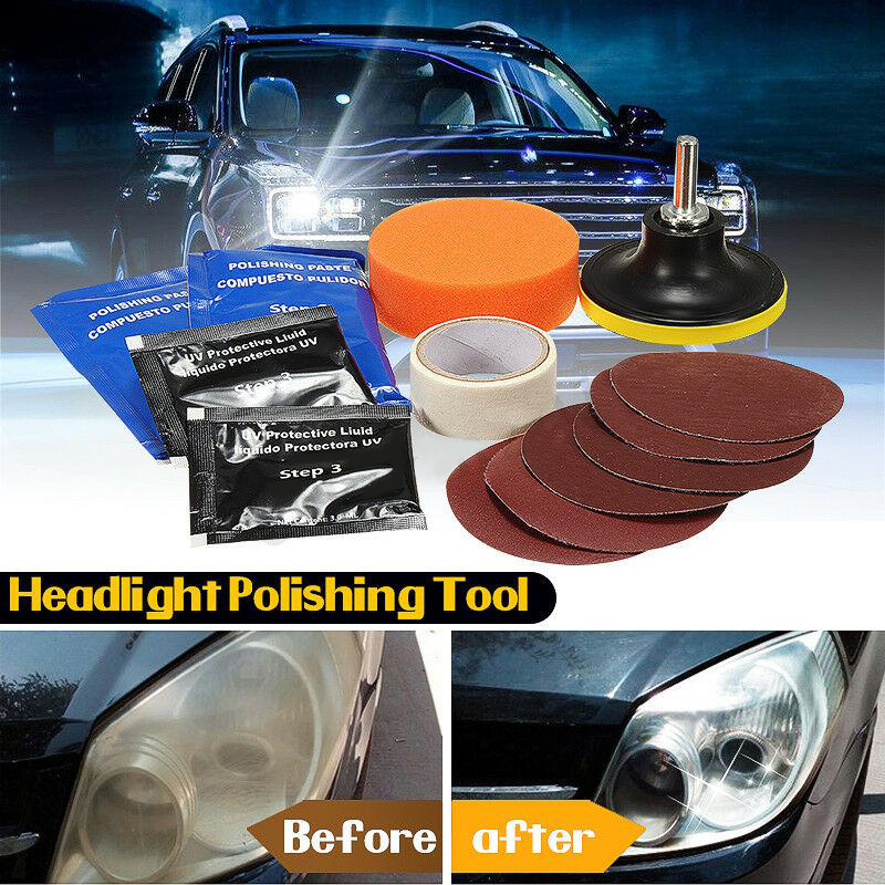 14pcs Car Headlight Lens Restoration System Repair Kit Light Polishing Tool  Motorcycle Windshields