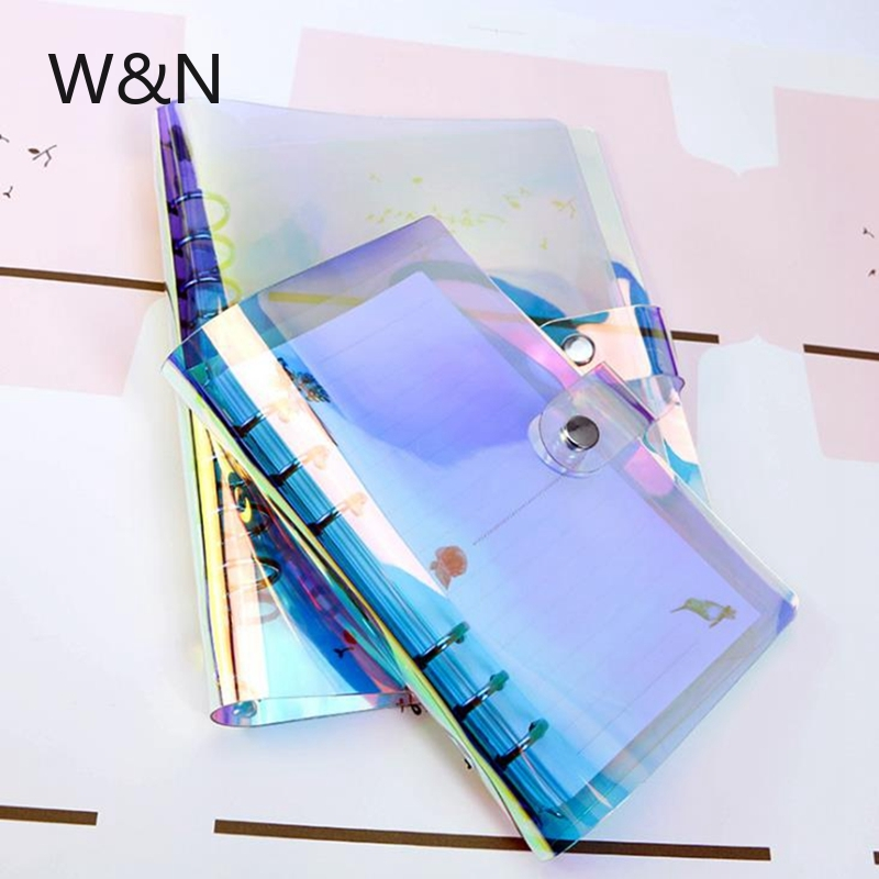 A5 A6 A7 PVC Rainbow Laser Transparent Notebook Diary Cover Glitter Loose Leaf Note Book Planner Clip School Office Supplies
