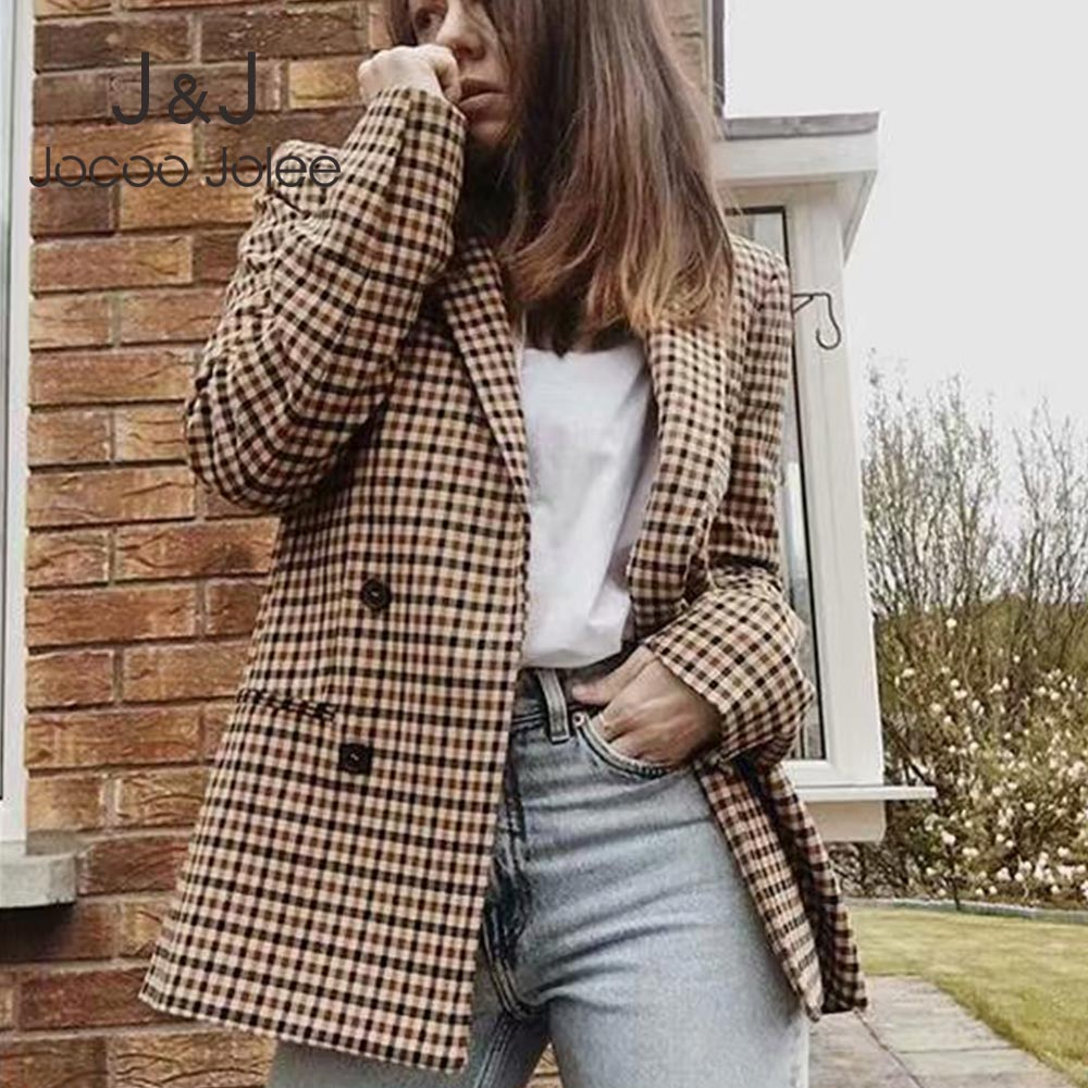 Office Ladies Long Sleeve Plaid Blazer Vintage Double Breasted Jackets Causal Slim Houndstooth Suit Coat Women Blazers 2019 New