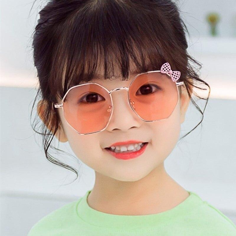 XojoX Fashion Polygon Bow Sunglasses Girls Cute Party Decoration Eyewear Holiday Beach Stylish Eyeglasses UV400 3-12 Years Old