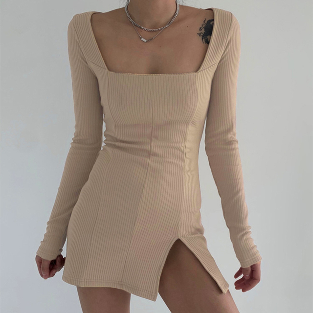 Darlingaga Elegant Square Neck Ribbed Black Dress Female Knitted Side Split Bodycon Dress Long Sleeve Fashion Mini Dresses Basic 3