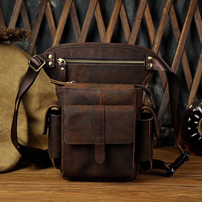 Crazy Horse/Oil Wax Genuine Leather Thigh Drop Leg Bag Men Military Motorcycle Messenger Hip Belt Fanny Pack Male Waist Bags New