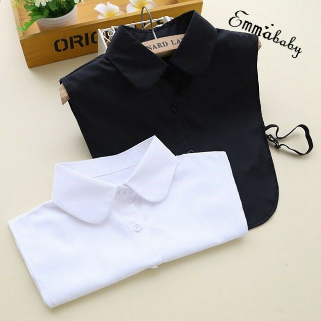Women Detachable Elegant Dickey Blouse Shirt Cotton Fake False Choker Collar Fashion Simple Formal Lady Solid Fake Collar