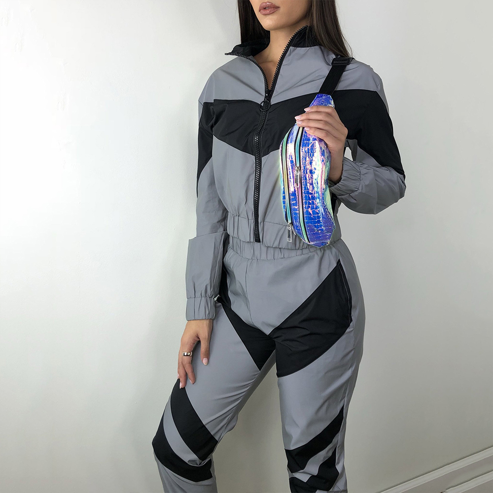 Autumn Long Sleeve Reflective Tracksuit Women Casual Patchwork Pockets Matching Sets Streetwear Two Piece Set Top And Pants